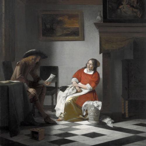 Pieter_de_Hooch_-_Man_reading_letter_to_a_woman-500x500