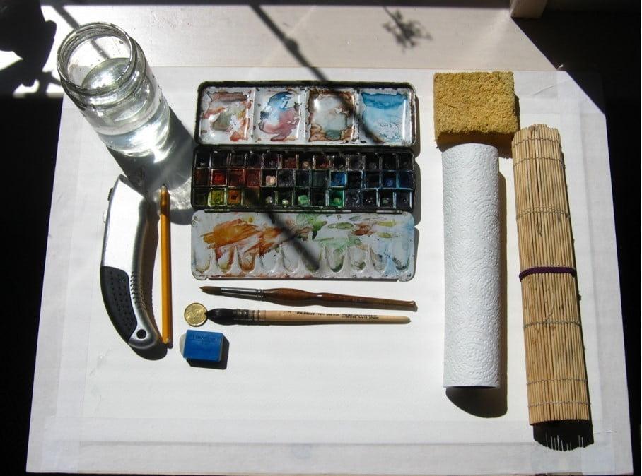kwasten grootte aquarel materiaal
