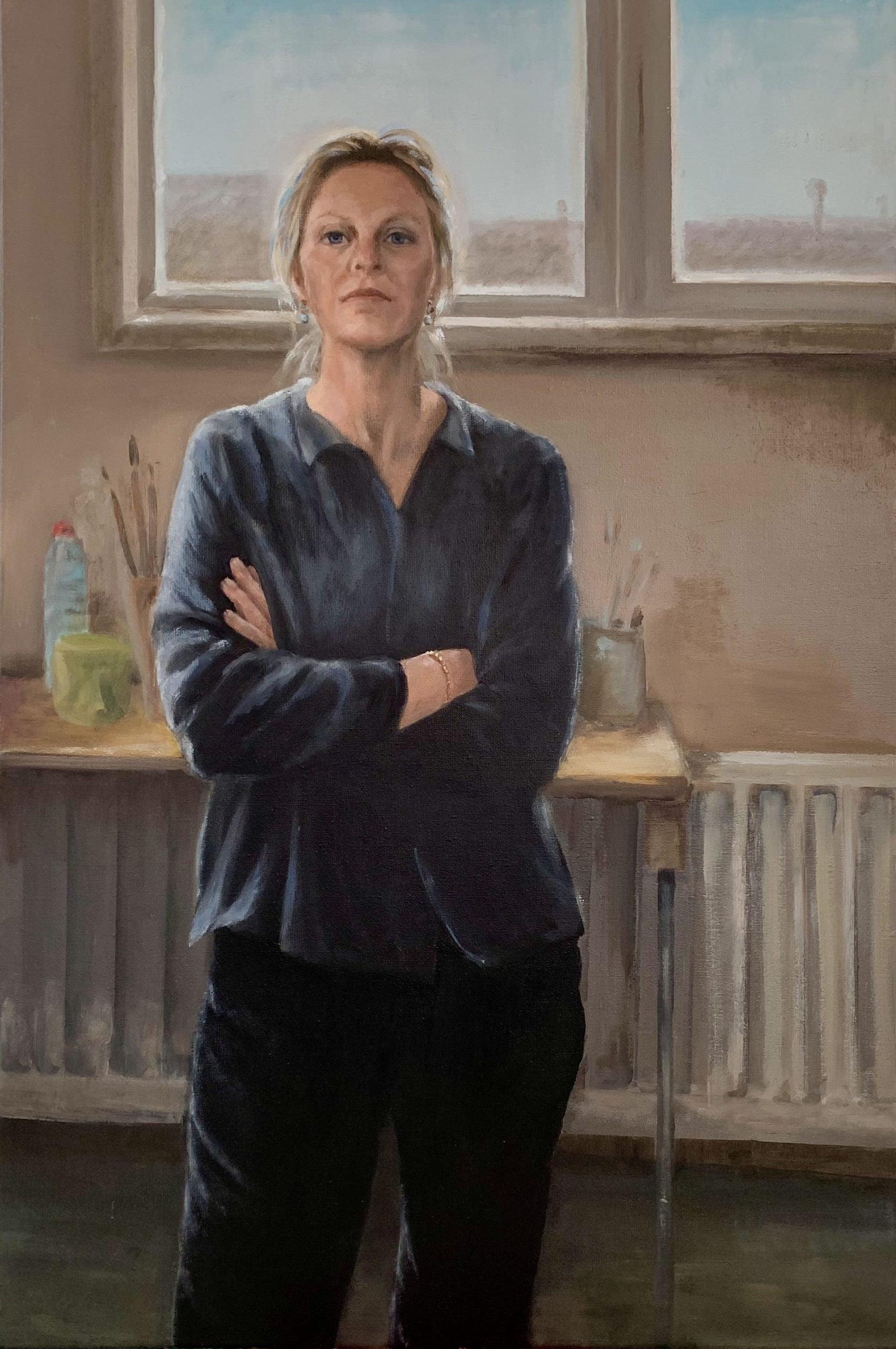 zelfportret_in_atelier,_olieverf_op_linnen_60x90_cm_-_margot_koopman
